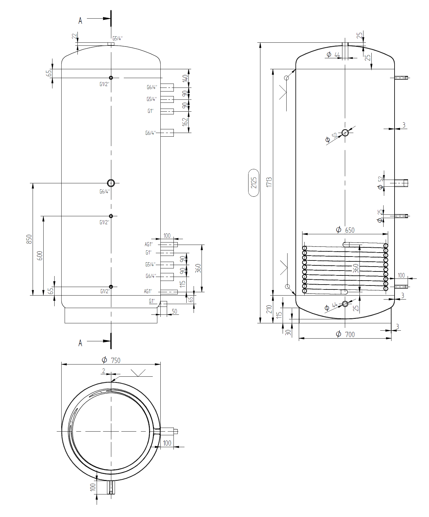 Narrow buffer tank 900l with coil exchanger