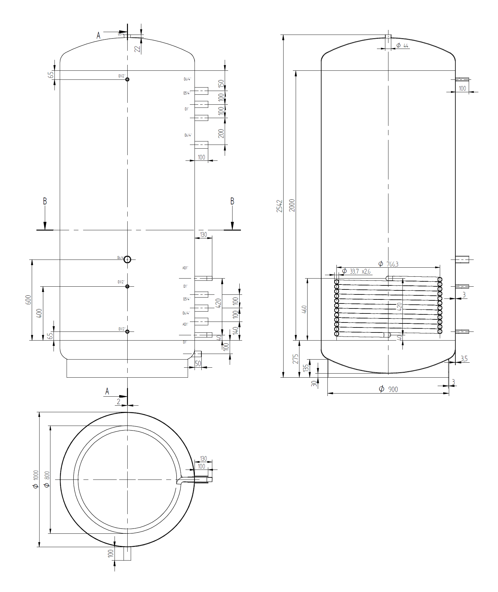 Narrow buffer tank 2000l with coil exchanger