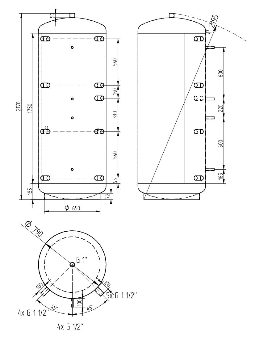 Lvt 1000 D790 0v 1000 L Buffer Tank Diameter 790 Mm